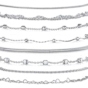 """925 Fine Sterling Silver Naturally Adjustable Anklet - 3 mm Heart Chain Ankle Bracelet - up to 10"""""""