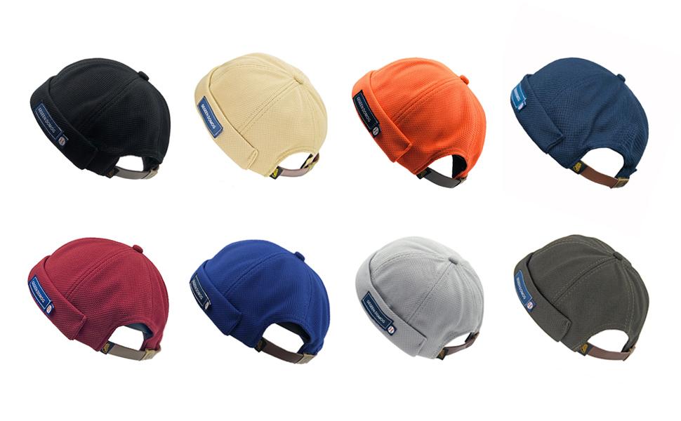 Vintage Style Docker Beanie Hat Adjustable Leather Buckle Skullcap