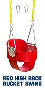Red High Back Full Bucket Toddler Swing Seat