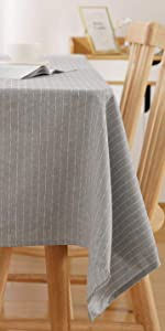 Deconovo Spillproof Striped Square Tablecloth 54 x 54 Inch Decorative Light Grey Table Cloth Indoor