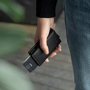 Credit Card Holder for Men Leather Card Wallet RFID Blocking Pop Up Carbon Fiber Metal Bank Case