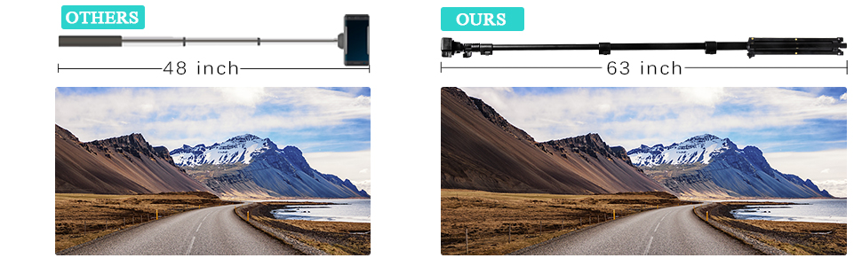 63 INCH EXTENDABLE SELFIE STICK TRIPOD PERFECT SHOOTING ANGLE
