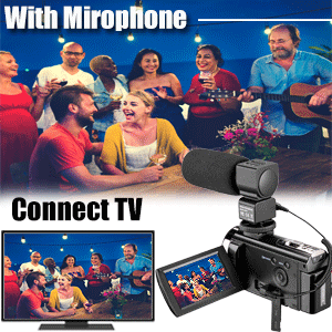 Video camera camcorder with microphone