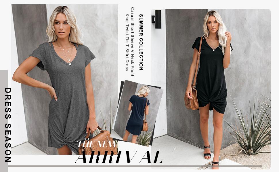 Women/'s Cold Shoulder T-Shirt Mini Dress V-Neck Short Sleeve Front Knot Dresses