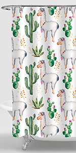 Cactus Florals and Llama Shower Curtain