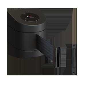 Fixed wall mount retractable belt barrier with belt-braking technology