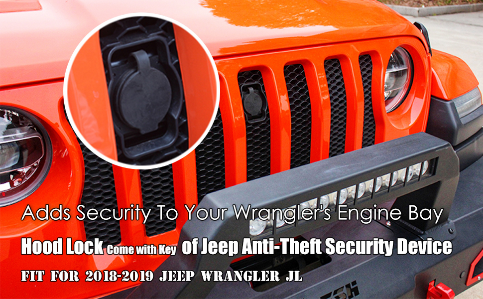 Hood lock for 2018 2019 Jeep Wrangler JL JLU