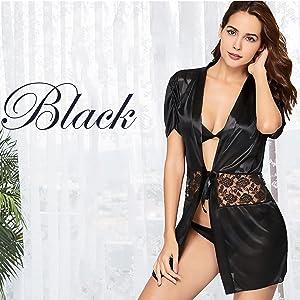 women sexy satin robe sexy lingerie for honeymoon
