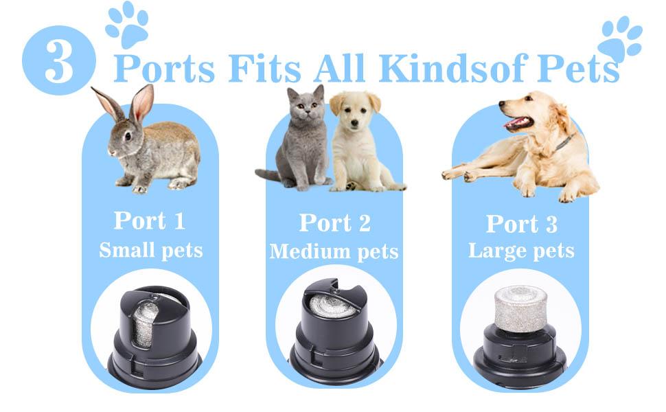 3  Ports Fits All Kindsof Pets