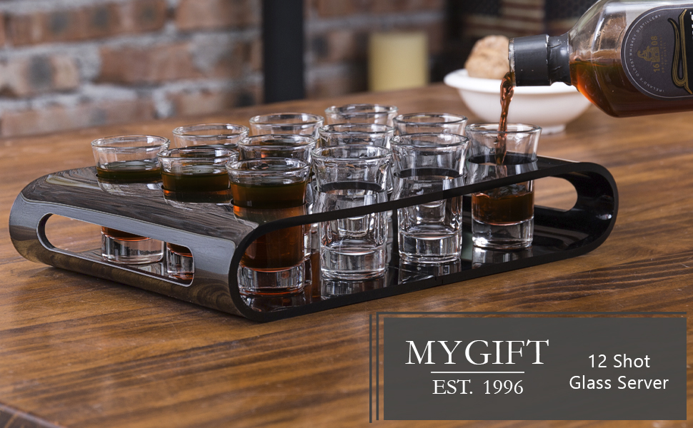 MyGift 12 Shot Glass Flight Set with Black Acrylic Party Serving Tray