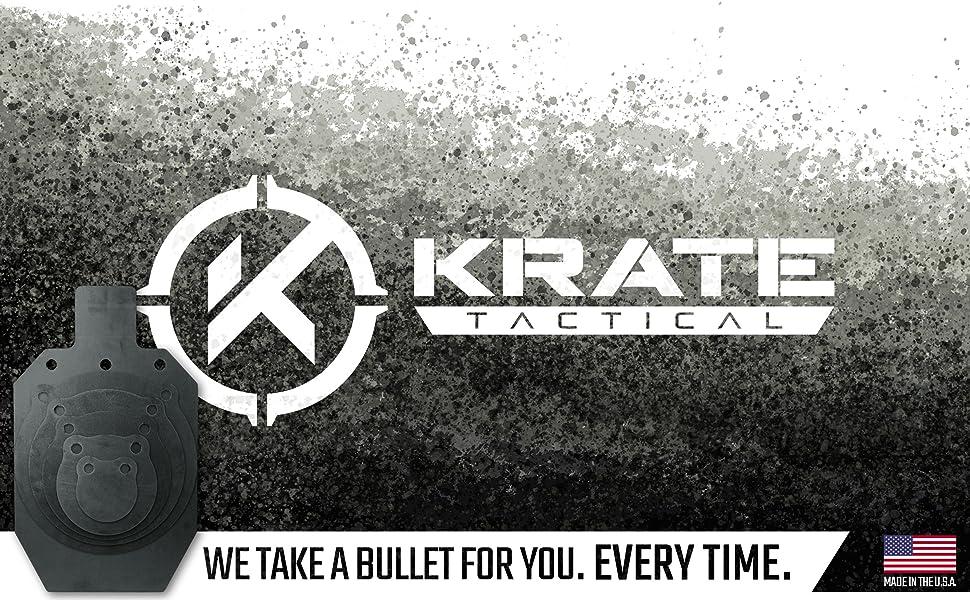KRATE Tactical Ar500 Steel Shooting Targets Metal Silhouette Gong Practice Gun Range Rifle Pistol