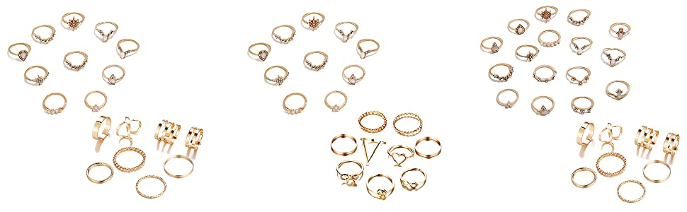 mix gold ring set