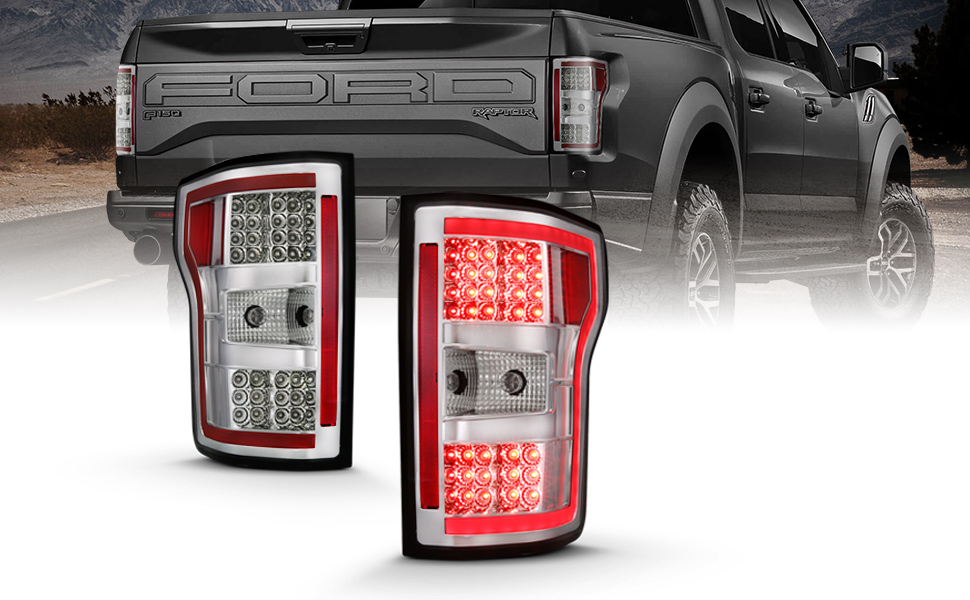 Driver and Passenger Side AmeriLite for 2018-2020 Ford F150 Taillights Replacement Assembly w//LED Tube Light Bar Brake Lamps Signal Set Matte Black