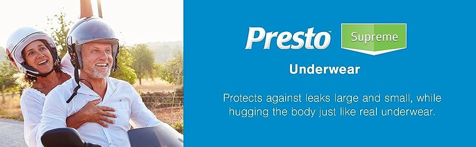 Presto Supreme Underwear Incontinence bladder control for men and women