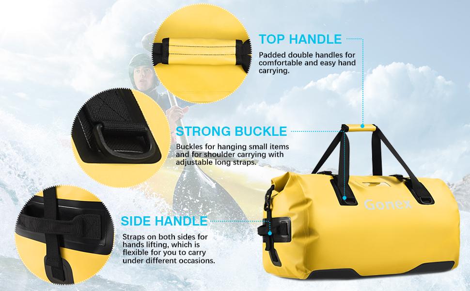 Bolsa Seca Duradera para Viajes Utilizada para pasear en Kayak Gonex Bolsa de Viaje Impermeable 80 L Rafting Senderismo Aventura al Aire Libre Camping Amarillo Camping Pesca