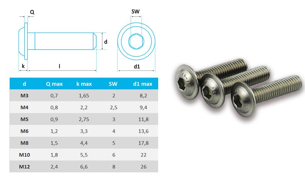 rostfrei Flachkopfschrauben OPIOL QUALITY Linsenkopfschrauben mit Flansch und Innensechskant Linsenkopf M5x5 ISO 7380 50 St/ück
