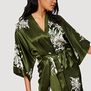 KIM+ONO Women's Washable Silk Kimono Robe Yuri Olive