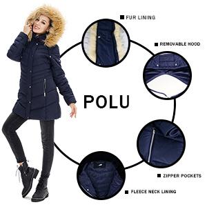 Women's Winter Coats Windproof Puffer Jacket Women Full Zipper Thicken Windproof Puffer Long Jacket