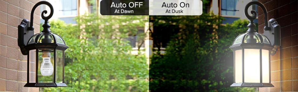 sansi 8w 60w 800lm dusk to dawn led light bulb auto on auto off led smart bulb sensor garage porch