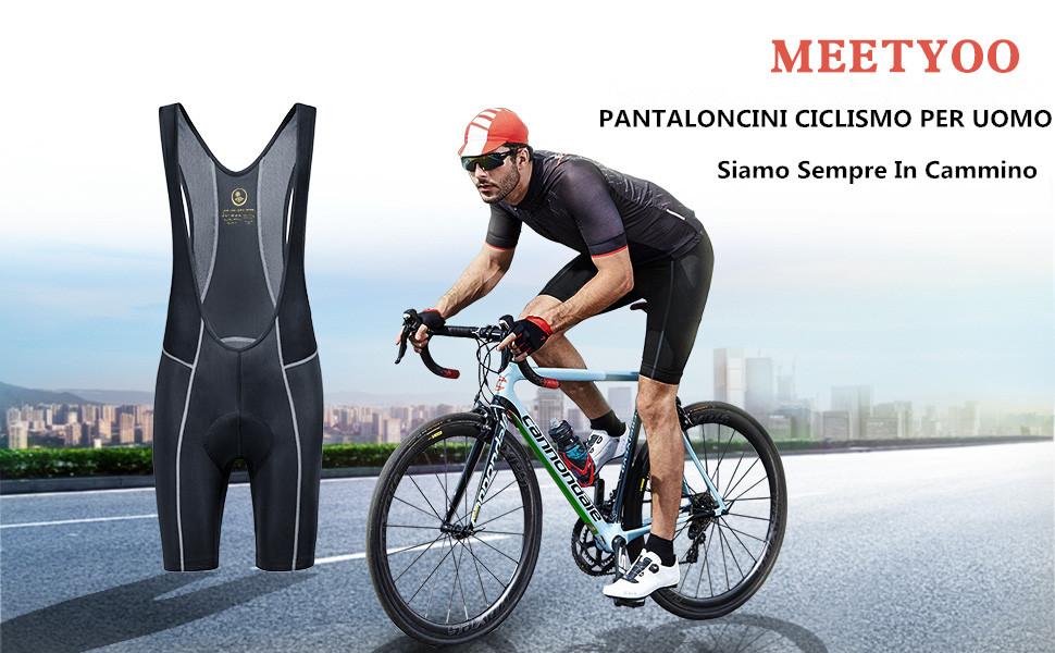Salopette Corte Imbottiti Pantaloni Cycle Traspirante per Sportivo Fitness MEETYOO Salopette Ciclismo Uomo