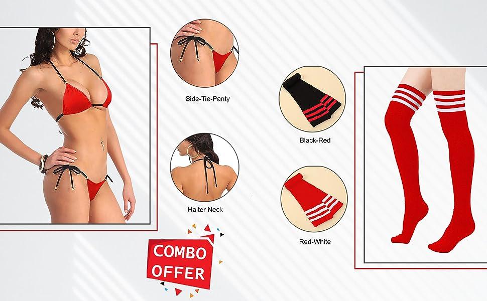 sexy bikini lingerie for women lingerie set for honeymoon sex hot bra panty set knee high socks