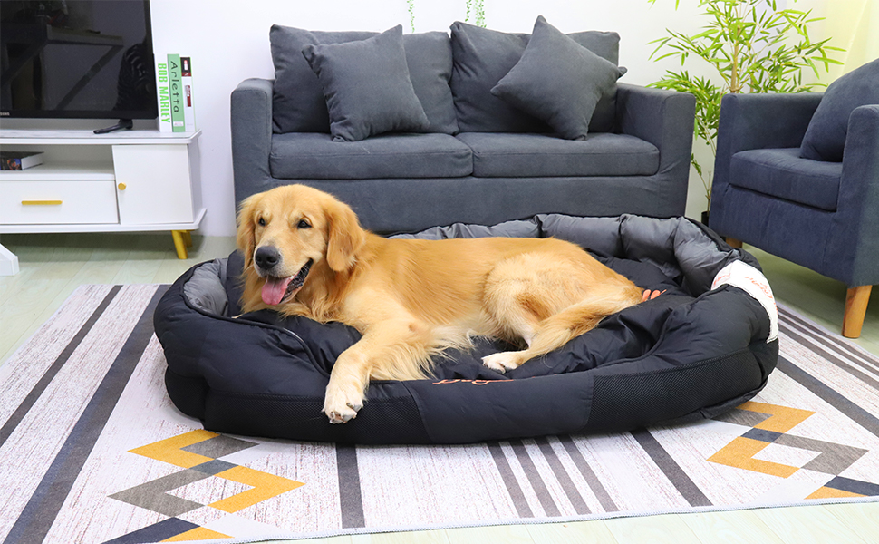 Heavy duty dog bed bolster dog bed Bolster Lounge Dog Bed Dog Cuddler Bed