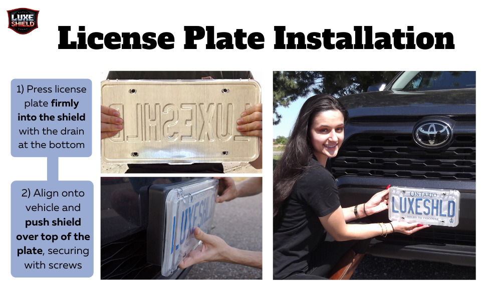 Made in The USA Luxe Shield Blue License Plate Cover incl Stainless Screws Never Replace Your License Plate Shields Again One License Cover
