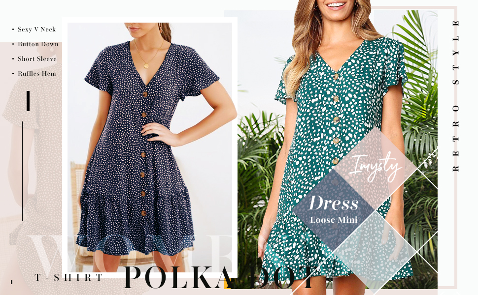 Fashion Button Down Short Sleeve V Neck Summer Casual Loose Bohemia Dresses For Women