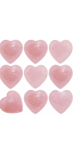 Rose Quartz Pocket Mini Puff Heart Worry Stone