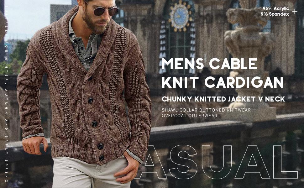 Chunky knit Cardigan Knitted Jacket Shawl Collar