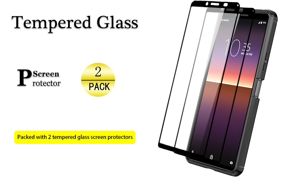 Sony Xperia 10 II case with tempered glass screen protector