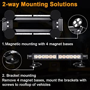 Red white strobe flashing light bar with strong magnets