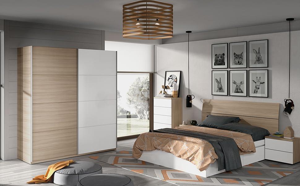 Habitdesign ARC184W - Armario 2 Puertas correderas, Color Nature y Blanco Brillo, Medidas: 180 cm (Largo) x 200 (Alto) x 63 cm (Fondo): Amazon.es: Hogar