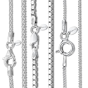 """Amberta 925 Sterling Silver 1.0 mm Venice Box Chain Necklace 14"""" 16"""" 18"""" 20"""" 22"""" 24"""" in"""