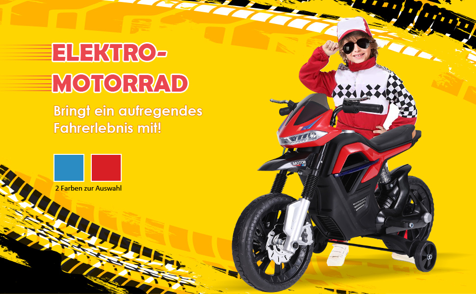Elektro-Motorrad für Kinder ab 3 Jahren Licht Musik MP3 Elektrofahrzeug mit Stützrädern
