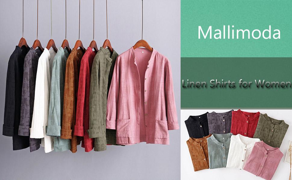 Mallimoda Camisas de lino para mujer con botones y botones; blusa túnica casual de manga larga