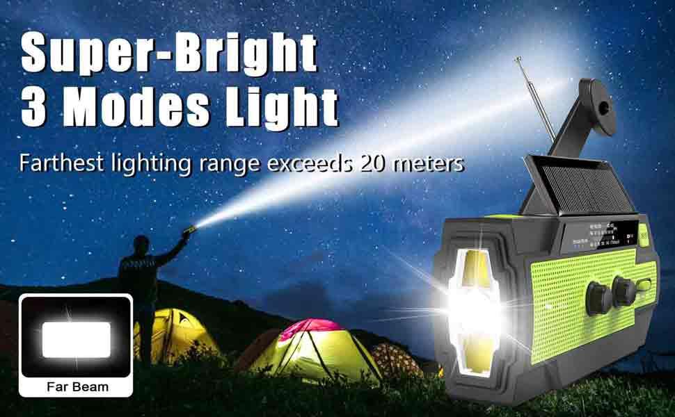 Emergency flashlight radio with 3 Modes light
