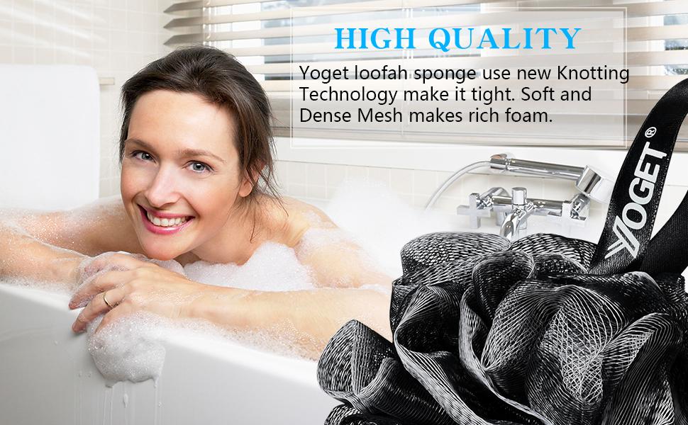 Bamboo Charcoal Bath Shower Loofah Sponge Pouf Body Scrubber Exfoliator