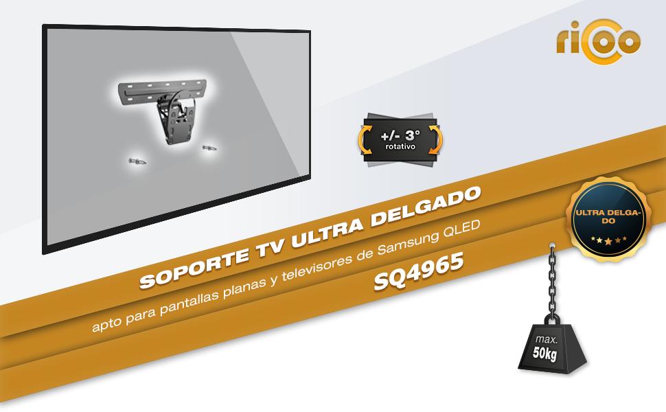 RICOO SQ4965, Soporte TV Pared, No-Gap, Fijo, Inclinable, Compatible con Samsung Q7, Q8, Q9 QLED, Television de 49