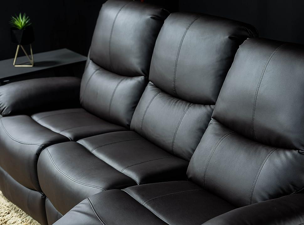 ECODE Sofa Tres Plazas Negro con Masaje Programable, Calor Lumbar, Polipiel y Reclinable ECO-8200/3 Negro
