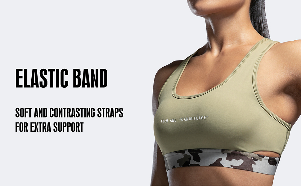 Firm ABS Womens Built-Up Camouflage Sports Underwear Running Quick-Drying Racerback High Impact Fitness Bra