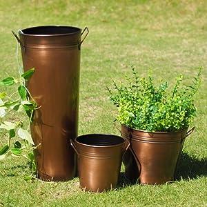 bronze metal planter