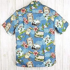 メンズ アロハシャツ Winnie Fashion 青地/コーヒー豆柄 ハワイ製