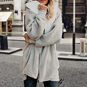 open front sweater cardigan fleece jacket with hood women fuzzy jacket with hood