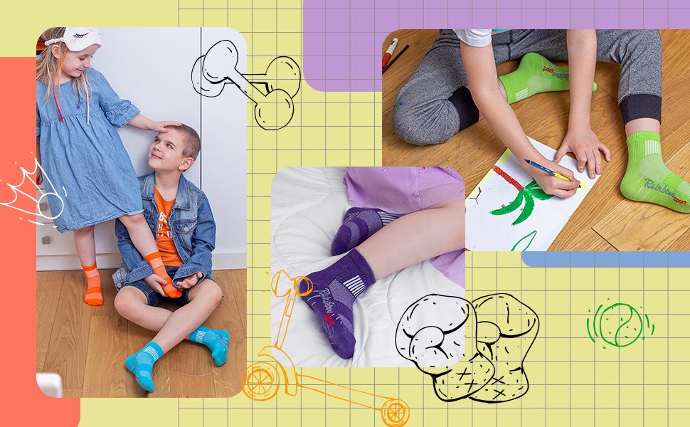 Calcetines deportivos coloridos para niños: naranja, azul, violeta y verde