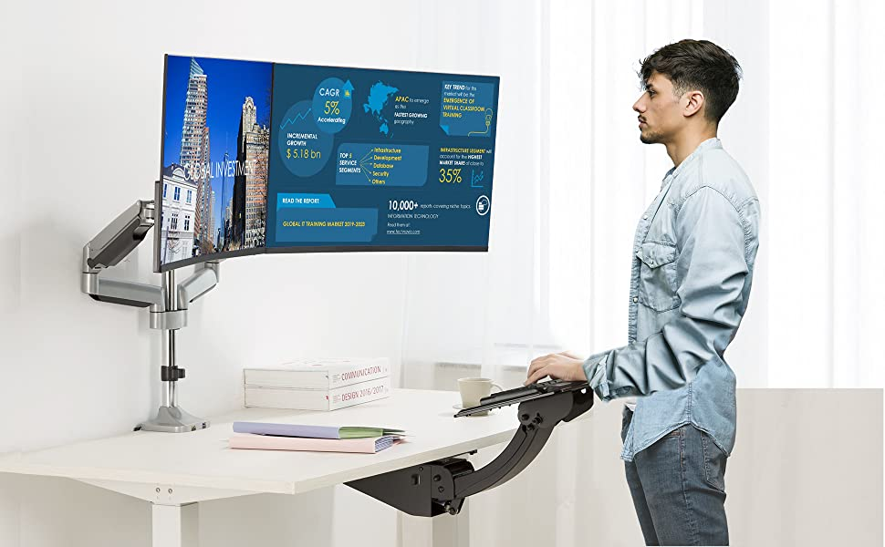 AVLT-DM38-1 is a premium quality full-motion keyboard tray under desk mount that utilizes a
