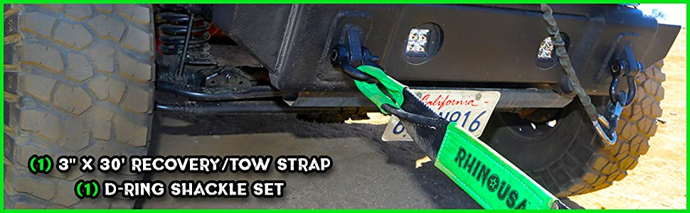 tow strap recovery gear rhino usa offroad automotive heavy duty kinetic strap rope hitch d-rings