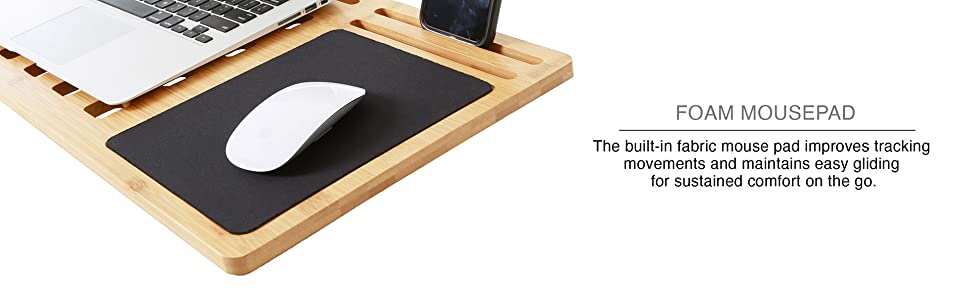 Sidetrak portable lapdesk indoor outdoor home surface laptop device tablet mousepad bamboo wood work