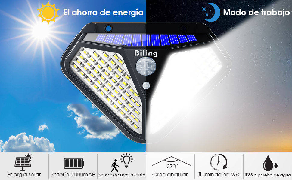 Luces LED Solares Para Exteriores, Biling 102 LED Luz Solar ...