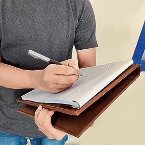 portfolio padfolio folder leather artwork organizer men women notebook bag resume portfolios file